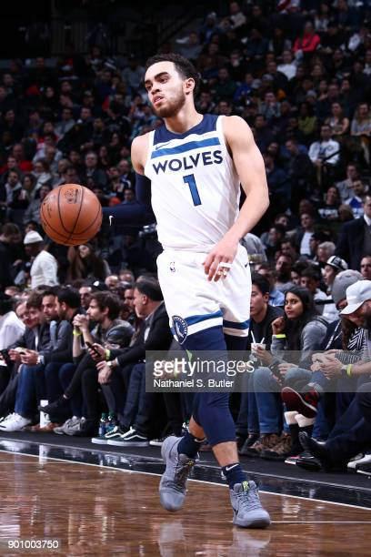 Tyus Jones of the Minnesota Timberwolves handles the ball against the Brooklyn Nets on January 3 2018 at Barclays Center in Brooklyn New York NOTE TO...