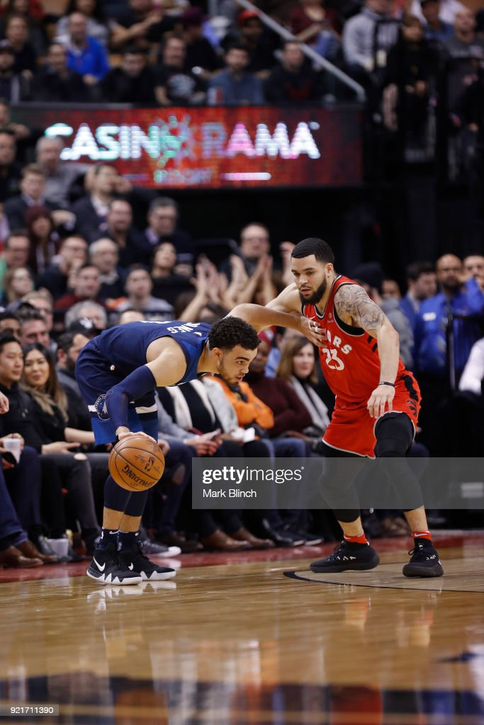 Tyus Jones #1 of the Minnesota Timberwolves handles the ball against the Toronto Raptors on January 30, 2018 at the Air Canada Centre in Toronto, Ontario, Canada.