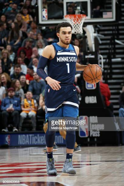 Tyus Jones of the Minnesota Timberwolves handles the ball against the Utah Jazz on March 2 2018 at vivintSmartHome Arena in Salt Lake City Utah NOTE...