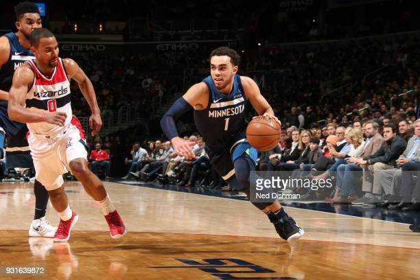 Tyus Jones of the Minnesota Timberwolves handles the ball against the Washington Wizards on March 13 2018 at Capital One Arena in Washington DC NOTE...