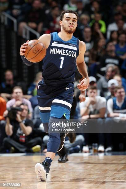 Tyus Jones of the Minnesota Timberwolves handles the ball against the Houston Rockets in Game Three of Round One of the 2018 NBA Playoffs on April 21...