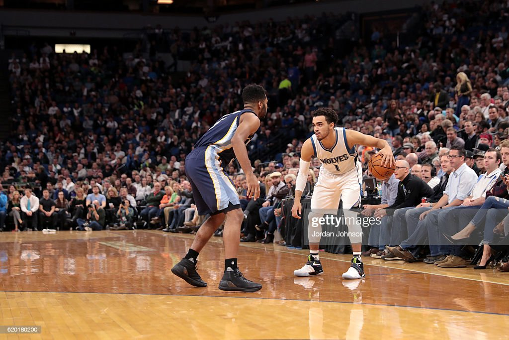 Tyus Jones #1 of the Minnesota Timberwolves handles the ball during the game against the Memphis Grizzlies on November 1, 2016 at Target Center in Minneapolis, Minnesota.