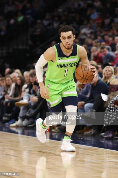 Tyus Jones of the Minnesota Timberwolves handles the ball during the game against the Chicago Bulls on February 24 2018 at Target Center in...