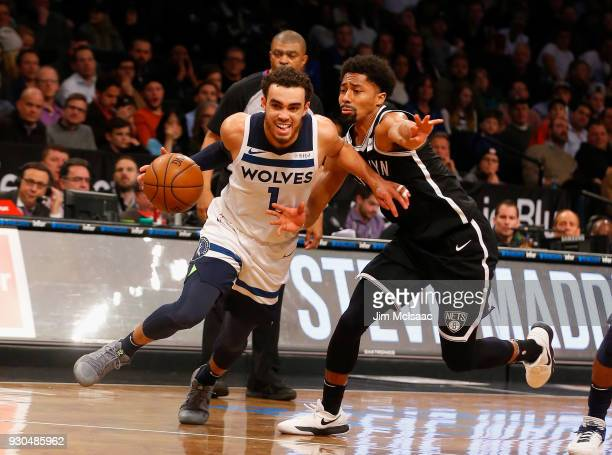 Tyus Jones of the Minnesota Timberwolves in action against Spencer Dinwiddie of the Brooklyn Nets at Barclays Center on January 3 2018 in the...