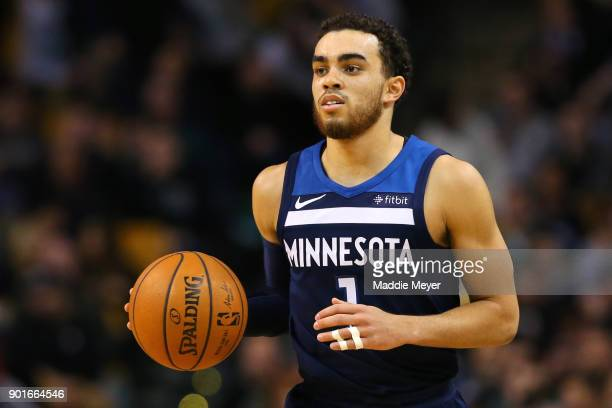 Tyus Jones of the Minnesota Timberwolves in action during the second quarter against the Boston Celtics at TD Garden on January 5 2018 in Boston...