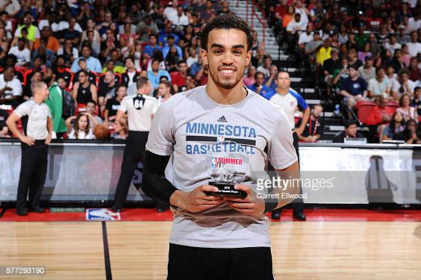 Tyus Jones of the Minnesota Timberwolves is awarded the 2016 Samsung NBA Summer League MVP before the game against the Chicago Bulls during the 2016...