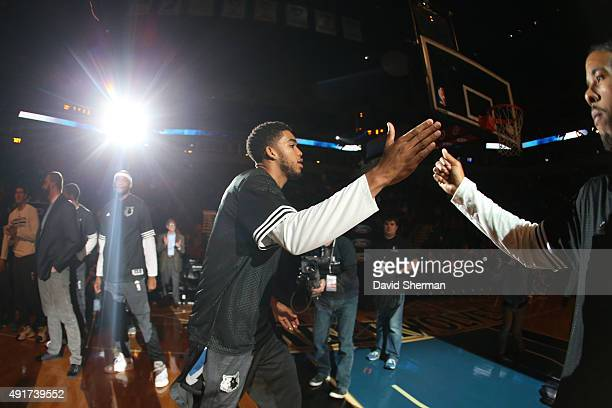 Tyus Jones of the Minnesota Timberwolves is introduced before facing off against the Oklahoma City Thunder during a preseason game on October 7 2015...