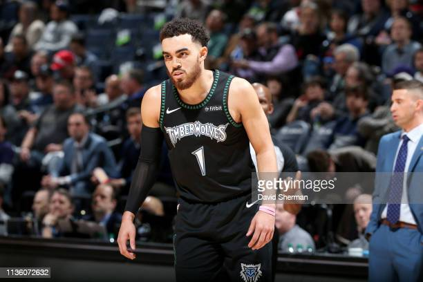 Tyus Jones of the Minnesota Timberwolves looks on during the game against the Toronto Raptors on April 9 2019 at Target Center in Minneapolis...