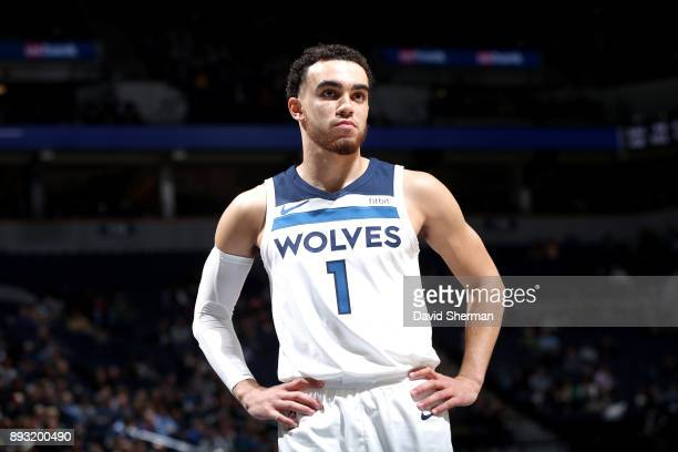 Tyus Jones of the Minnesota Timberwolves looks on during the game against the Sacramento Kings on December 14 2017 at Target Center in Minneapolis...