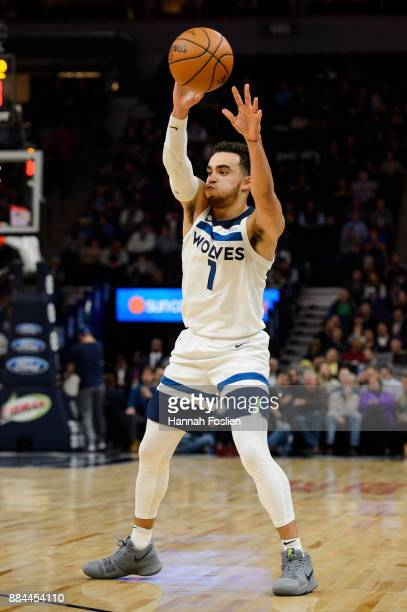 Tyus Jones of the Minnesota Timberwolves passes the ball against the Washington Wizards during the game on November 28 2017 at the Target Center in...