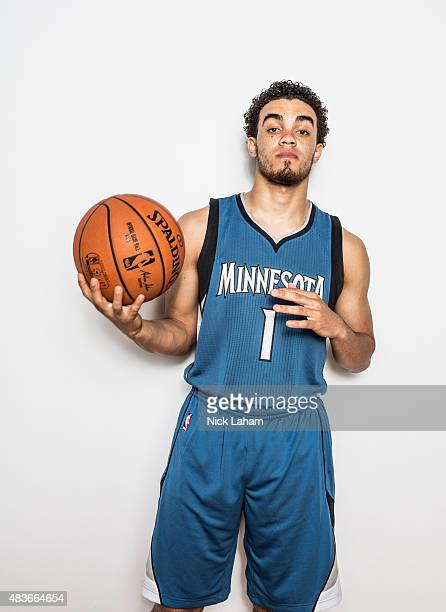 Tyus Jones of the Minnesota Timberwolves poses for a portrait during the 2015 NBA rookie photo shoot on August 8 2015 at the Madison Square Garden...