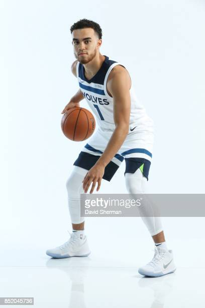 Tyus Jones of the Minnesota Timberwolves poses for portraits during the 2017 Media Day on September 22 2017 at the Minnesota Timberwolves and Lynx...