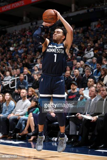 Tyus Jones of the Minnesota Timberwolves shoots the ball against the Phoenix Suns on November 26 2017 at Target Center in Minneapolis Minnesota NOTE...