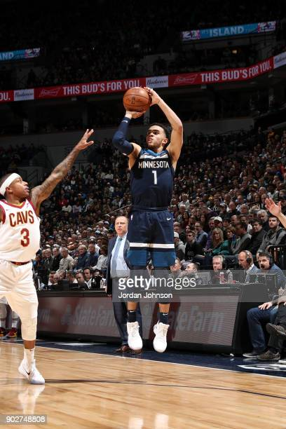 Tyus Jones of the Minnesota Timberwolves shoots the ball against the Cleveland Cavaliers on January 8 2018 at Target Center in Minneapolis Minnesota...