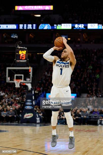 Tyus Jones of the Minnesota Timberwolves shoots the ball against the New York Knicks during the game on January 12 2018 at the Target Center in...