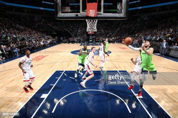 Tyus Jones of the Minnesota Timberwolves shoots the ball against the Toronto Raptors on January 20 2018 at Target Center in Minneapolis Minnesota...