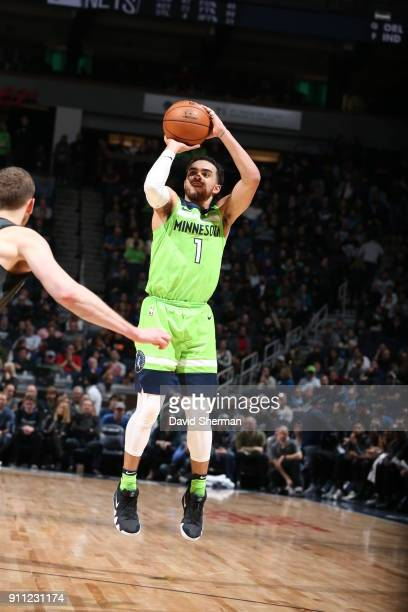 Tyus Jones of the Minnesota Timberwolves shoots the ball against the Brooklyn Nets on January 27 2018 at Target Center in Minneapolis Minnesota NOTE...