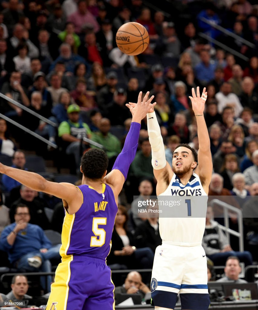 Tyus Jones #1 of the Minnesota Timberwolves shoots the ball against the Los Angeles Lakers on February 15, 2018 at Target Center in Minneapolis, Minnesota.