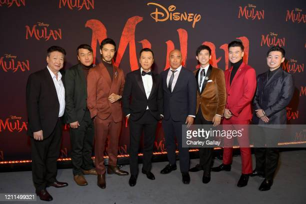 Tzi Ma Doua Moua Yoson An Donnie Yen Ron Yuan Jimmy Wong Chen Tang and Jun Yu attend the World Premiere of Disney's 'MULAN' at the Dolby Theatre on...