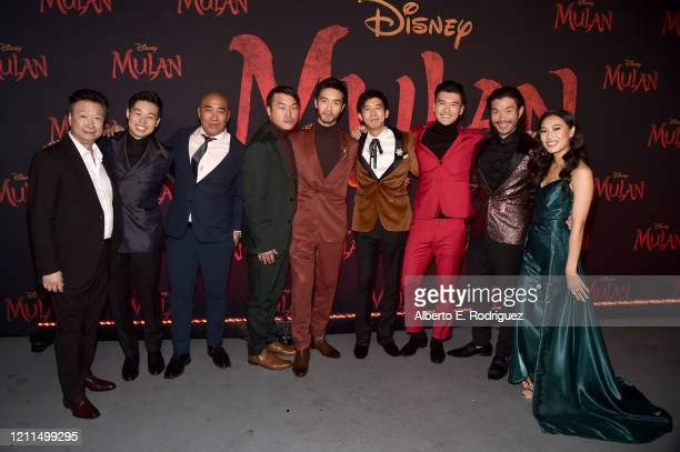 Tzi Ma Jun Yu Ron Yuan Doua Moua Yoson An Jimmy Wong Chen Tang Nelson Lee and Xana Tang attend the World Premiere of Disney's 'MULAN' at the Dolby...