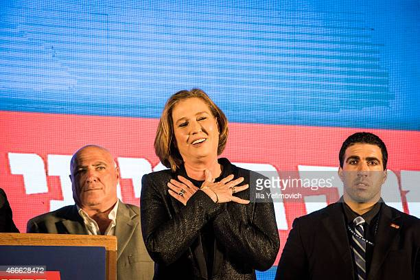 7 Tzipi Livni number two of the Zionist Camp gives a speech as preliminary election results are announced on March 17 2015 in Tel Aviv Israel The...