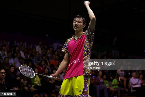 Tzu Wei Wang of Chinese Taipei celebrates against Hsu Jen Hao of Chinese Taipei during the mens final of the 2014 New Zealand Open at the North Shore...