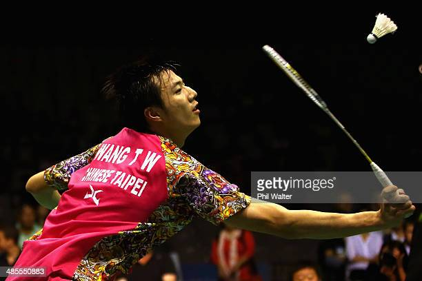 Tzu Wei Wang of Chinese Taipei plays a forehand against Hsu Jen Hao of Chinese Taipei during the mens final of the 2014 New Zealand Open at the North...