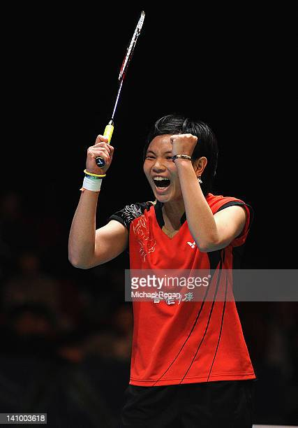 Tzu Ying Tai of Chinese Taipei celebrates victory in her singles match against Sung Ji Hyun of Korea during the Yonex All England Badminton Open...