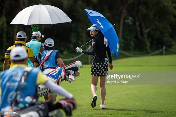 TzuChi Lin of Chinese Taipei plays a shot in the Fubon Taiwan LPGA Championship on October 8 2016 in Taipei Taiwan