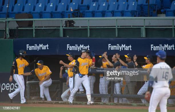 TzuHsien Chan of CTBC Brothers celebrates with teamates after hitting a two run homerun at the top of the 2nd inning during the CPBL game between...