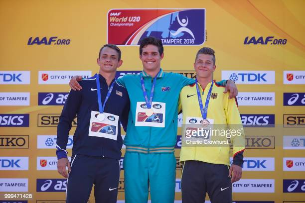 Tzuriel Pedigo of The USA Nash Lowis of Australia and Maurice Voigt of Germany celebrate with their medals during the medal ceremony for the men's...
