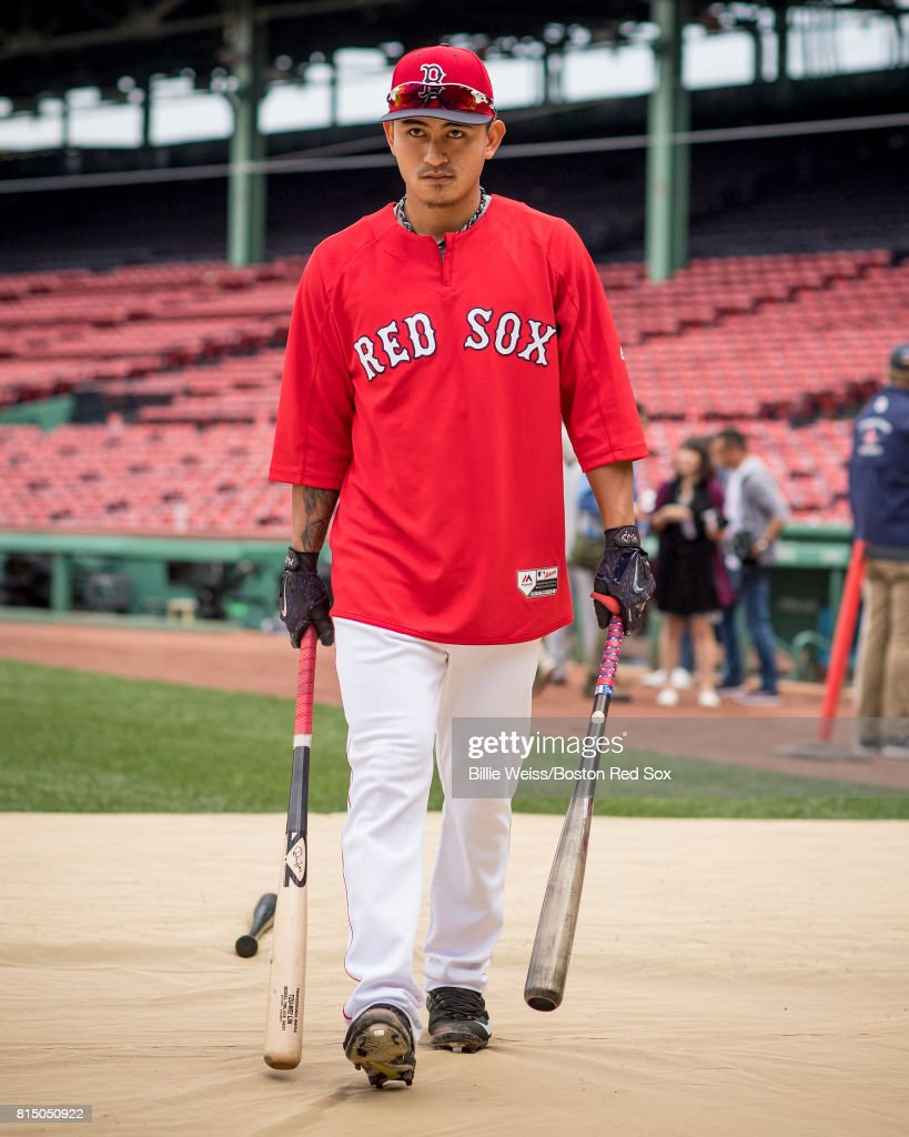Tzu-Wei Lin #5 of the Boston Red Sox looks on before a game against the New York Yankees on July 15, 2017 at Fenway Park in Boston, Massachusetts.