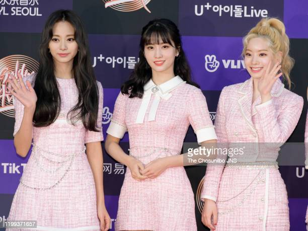 Tzuyu, Momo, Dahyun of TWICE arrives at the photocall for the 34th Golden Disc Awards on January 05, 2020 in Seoul, South Korea.