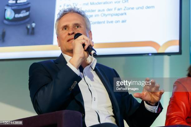 CEO S u K Marketing Klaus Cyron gestures during the press conference UEFA EURO 2020 100 days to go at Olympiahalle on March 3 2020 in Munich Germany