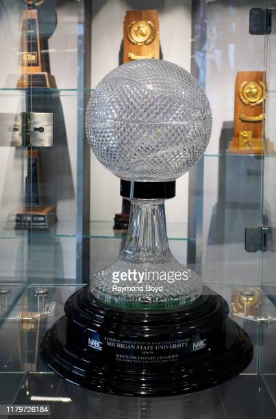 """U2013 1979 Men""""u2019s Collegiate Champion trophy in the Tom Izzo 'Basketball Hall Of History' trophy room inside Gilbert Pavilion, home of the..."""