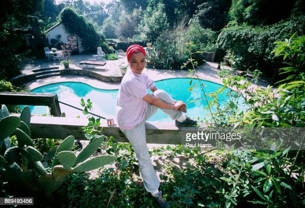 ANGELES CA 'u2013 DECEMBER 14 Eartha Kitt poses for a photograph in the garden of her Beverly Hills home December 14 Beverly Hills California