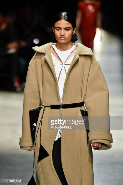 U2013 FEBRUARY 17: A model walks the runway at the Christopher Kane Ready to Wear Fall/Winter 2020-2021 fashion show during London Fashion Week on...