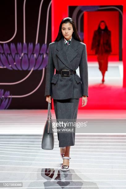 MILAN ITALY u2013 FEBRUARY 20 A model walks the runway during the Prada Ready to Wear Fall/Winter 20202021 fashion show as part of Milan Fashion Week...