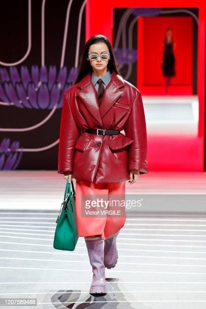 U2013 FEBRUARY 20: A model walks the runway during the Prada Ready to Wear Fall/Winter 2020-2021 fashion show as part of Milan Fashion Week on...