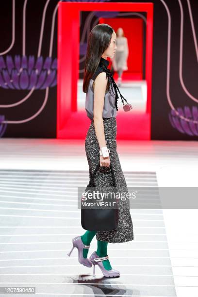 MILAN ITALY u2013 FEBRUARY 20 A model walks the runway during the Prada Ready to Wear Fall/Winter 20202021 fashion show as part of Milan Fashion Week...
