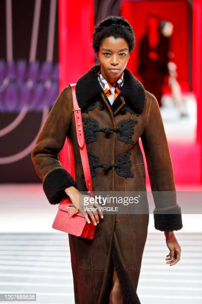 U2013 FEBRUARY 20: A model walks the runway during the Prada Ready to Wear Fall/Winter 2020-2021 fashion show as part of Milan Fashion Week on...