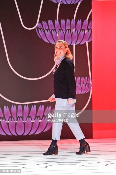 U2013 FEBRUARY 20: Fashion designer Miuccia Prada walks the runway during the Prada Ready to Wear Fall/Winter 2020-2021 fashion show as part of Milan...