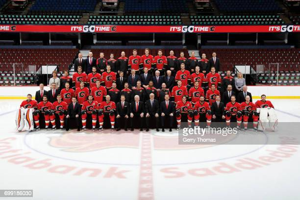 CALGARY AB 'u2013 MARCH 29 Members of the Calgary Flames pose for the official 201617 NHL team photograph at the Scotiabank Saddledome on March 29...