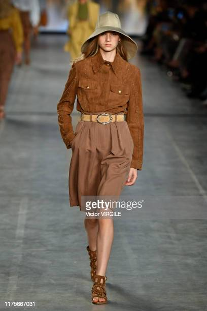 MILAN ITALY u2013 SEPTEMBER 18 A model walks the runway at the Alberta Ferretti Ready to Wear Spring/Summer 2020 fashion show during Milan Fashion...