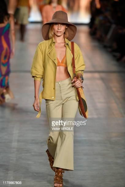 MILAN ITALY u2013 SEPTEMBER 18 A model walks the runway at the Alberta Ferretti Ready to Wear Spring/Summer 2020 fashion show during Milan Fashion...