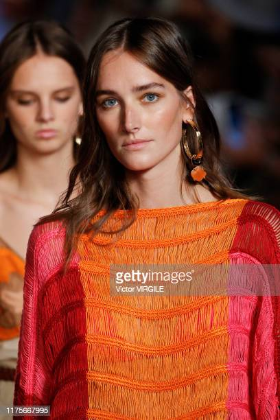 MILAN ITALY u2013 SEPTEMBER 18 Josephine Le Tutour walks the runway at the Alberta Ferretti Ready to Wear Spring/Summer 2020 fashion show during...
