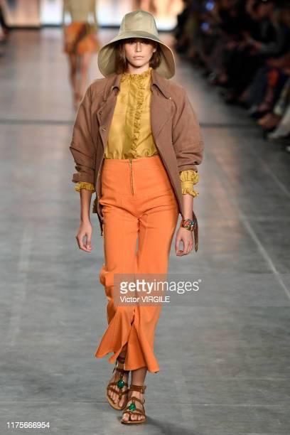MILAN ITALY u2013 SEPTEMBER 18 Kaia Gerber walks the runway at the Alberta Ferretti Ready to Wear Spring/Summer 2020 fashion show during Milan...