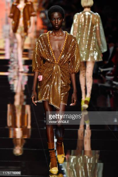 MILAN ITALY u2013 SEPTEMBER 19 A model walks the runway at the Fendi Ready to Wear fashion show during the Milan Fashion Week Spring/Summer 2020 on...