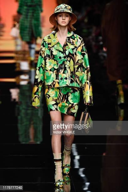 U2013 SEPTEMBER 19: A model walks the runway at the Fendi Ready to Wear fashion show during the Milan Fashion Week Spring/Summer 2020 on September...