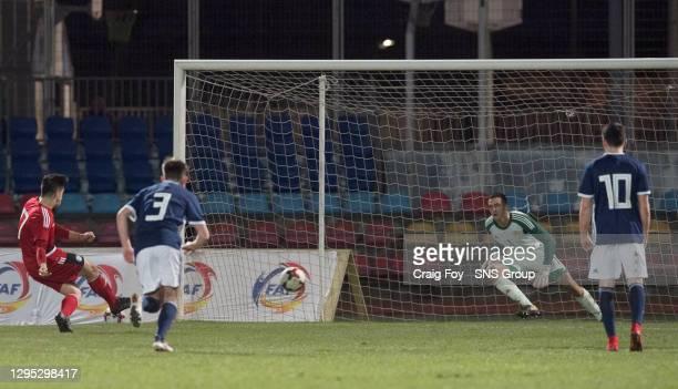 Andorra's Fernandez Betriu Ricard scores a penalty to make it 1-0